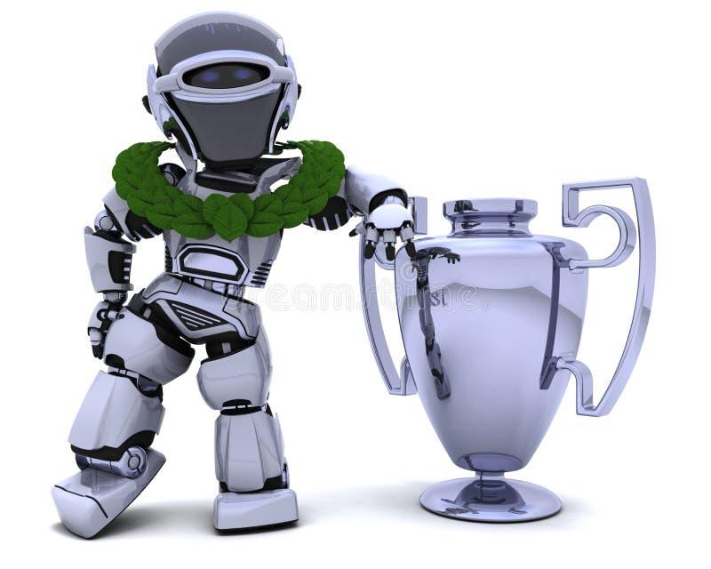 Robot met een trofee stock illustratie