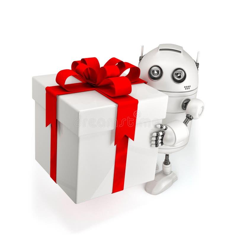 Robot met giftdoos. stock illustratie