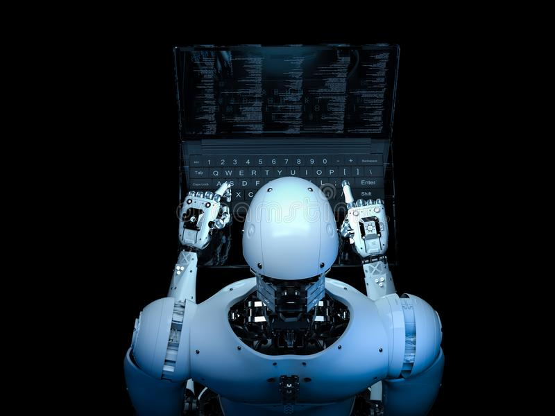 Robot met glaslaptop royalty-vrije illustratie