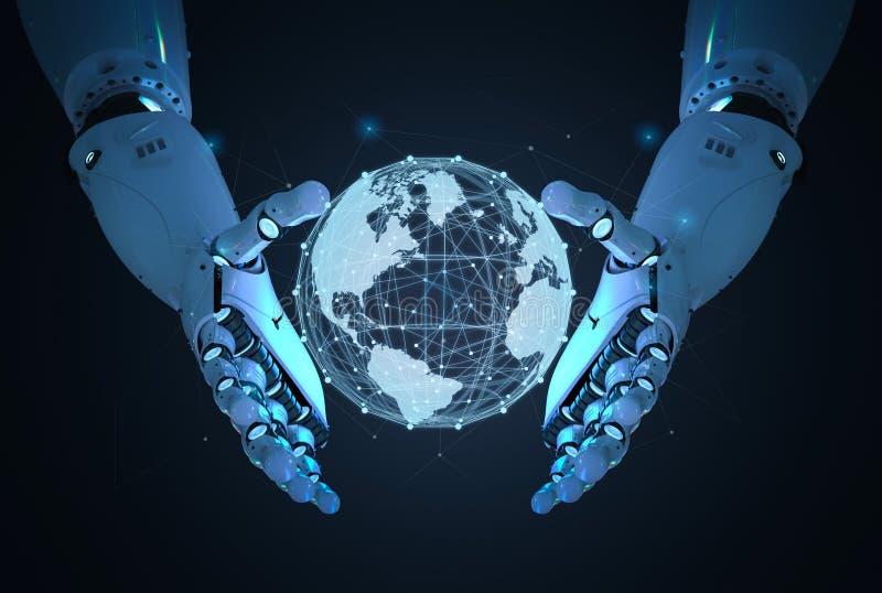 Robot met globale verbinding royalty-vrije illustratie