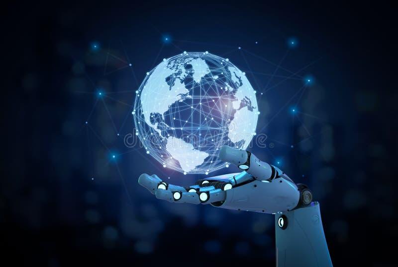 Robot met globale verbinding stock afbeeldingen