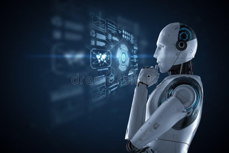 Robot met grafische vertoning vector illustratie