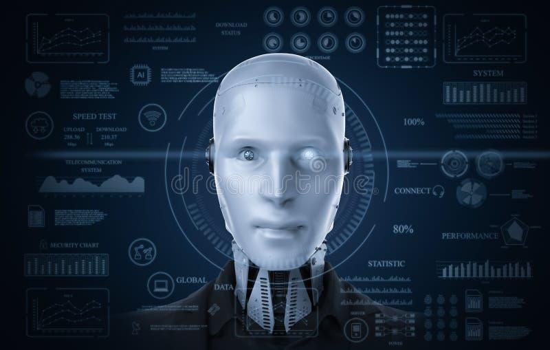 Robot met grafische vertoning stock illustratie