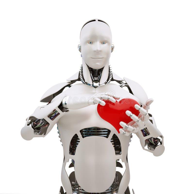 Robot met hart stock illustratie