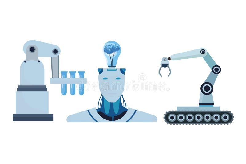 Robot met hersenen en robotachtige wapens vector illustratie