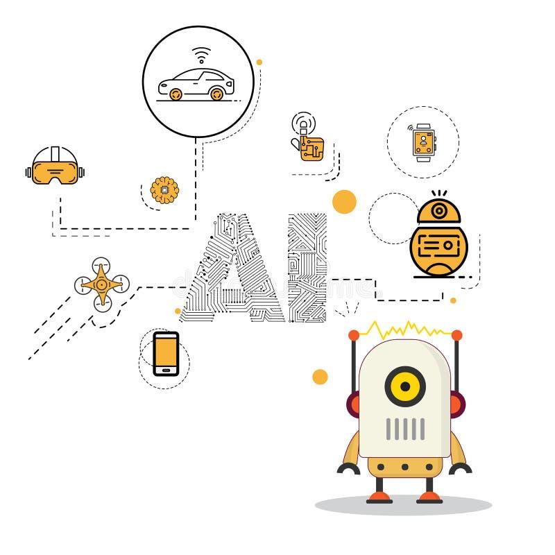 Robot met het pak van het kunstmatige intelligentiepictogram stock illustratie