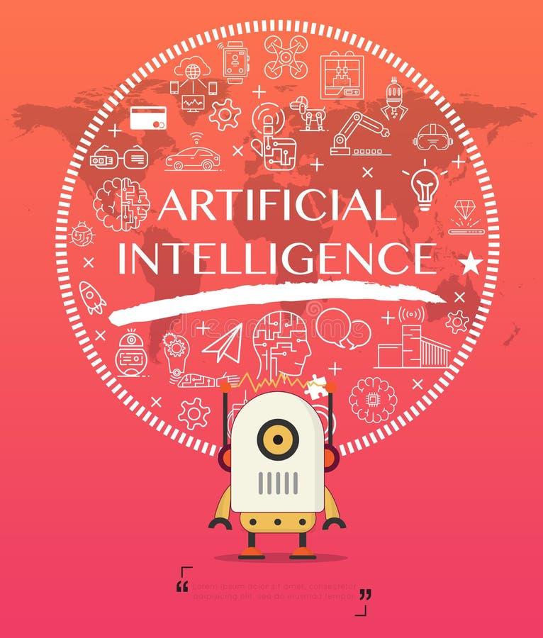 Robot met het pak van het kunstmatige intelligentiepictogram vector illustratie