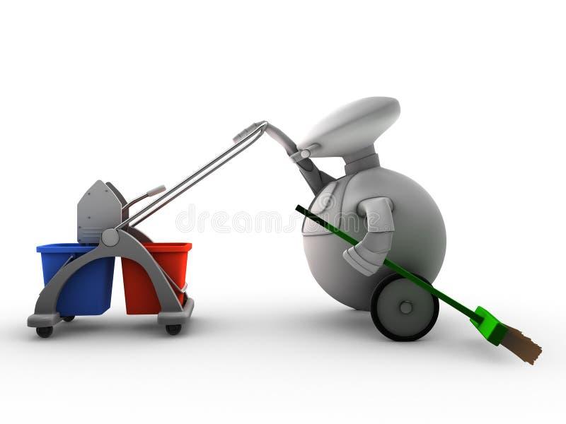 Robot met het schoonmaken van apparatuur stock illustratie
