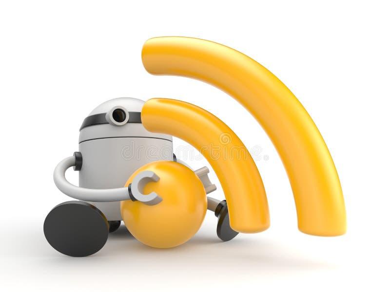 Robot met het symbool van RSS (of wifi) vector illustratie