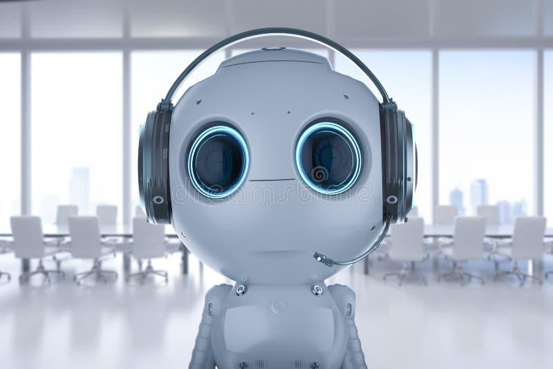 Robot met Hoofdtelefoon royalty-vrije illustratie