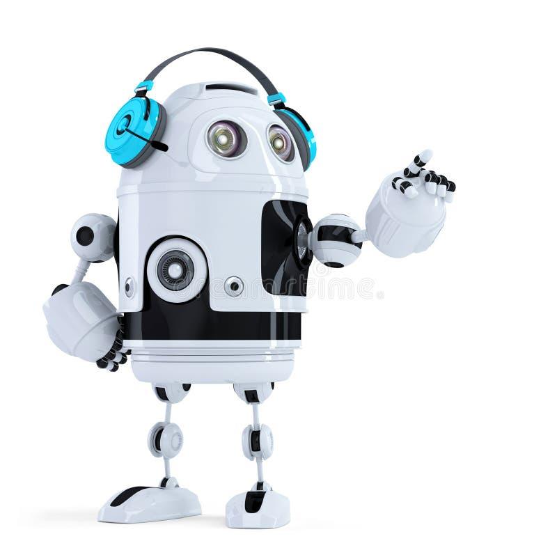 Robot met hoofdtelefoons pointingat onzichtbaar voorwerp. Geïsoleerd. Bevat het knippen weg vector illustratie