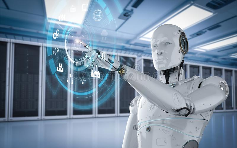 Robot met hudvertoning vector illustratie