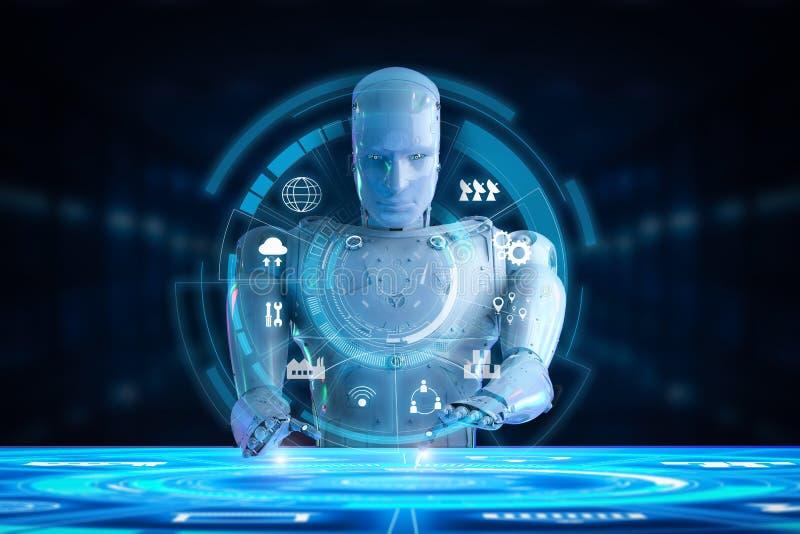 Robot met hudvertoning stock illustratie