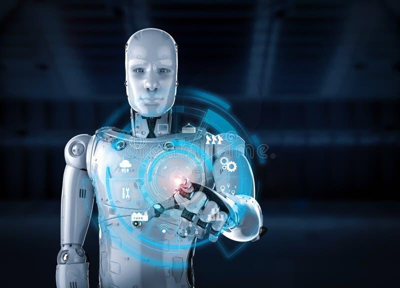 Robot met hudvertoning royalty-vrije illustratie