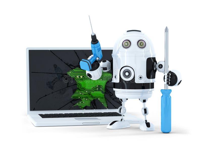 Robot met hulpmiddelen en gebroken laptop stock illustratie