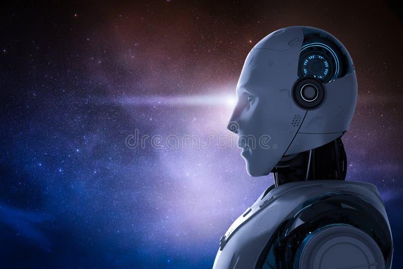 Robot met kosmische ruimte royalty-vrije illustratie