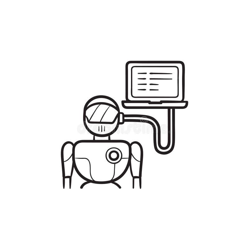 Robot met laptop het hand getrokken pictogram dat van de overzichtskrabbel wordt verbonden vector illustratie