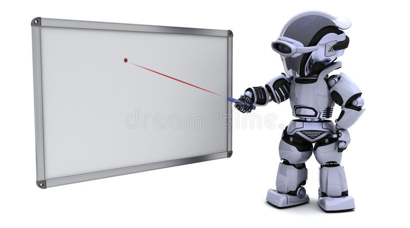 Robot met lege witte raad royalty-vrije illustratie