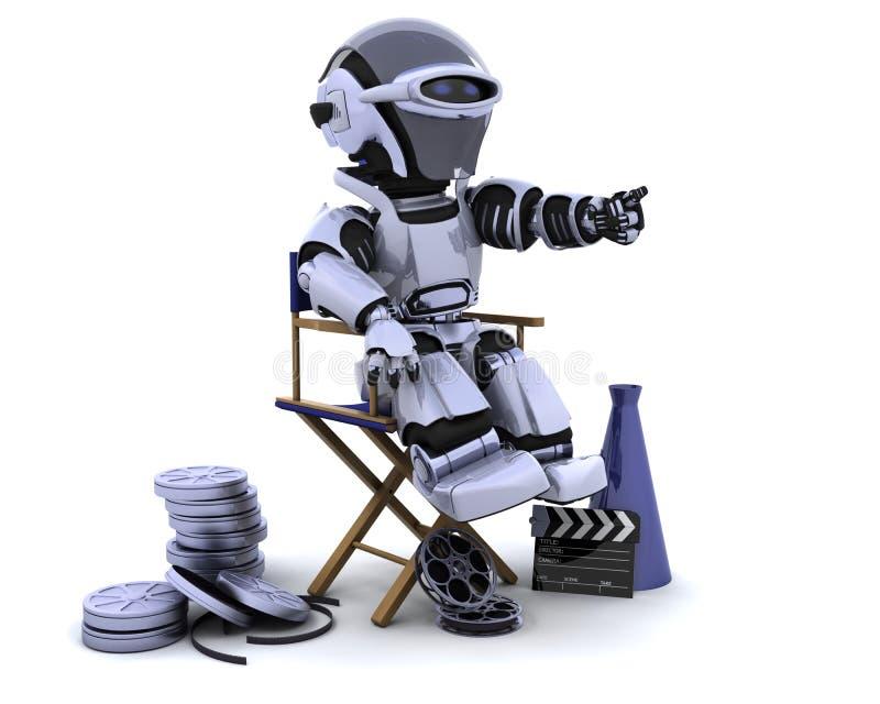 Robot met megafoon en directeurenstoel royalty-vrije illustratie