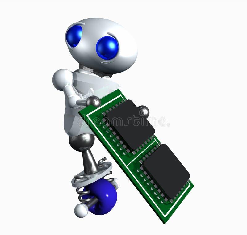 Robot met Microchip stock illustratie
