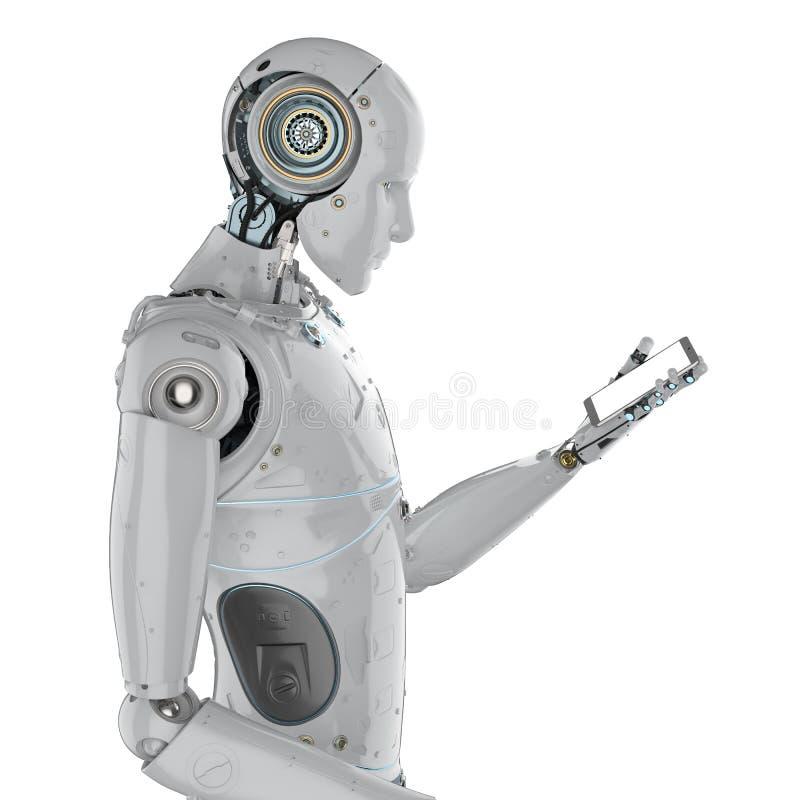 Robot met mobiele telefoon royalty-vrije illustratie