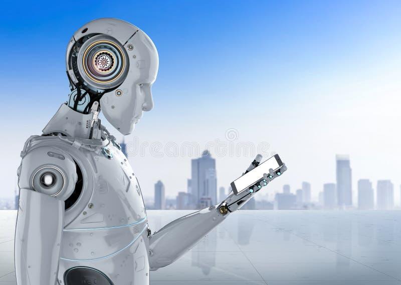 Robot met mobiele telefoon stock illustratie
