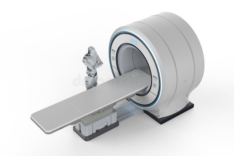 Robot met mriaftasten royalty-vrije illustratie