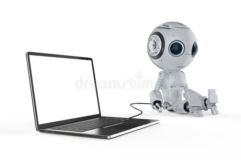 Robot met notitieboekje royalty-vrije illustratie