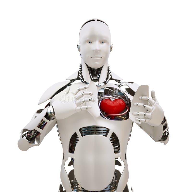 Robot met open hart royalty-vrije illustratie