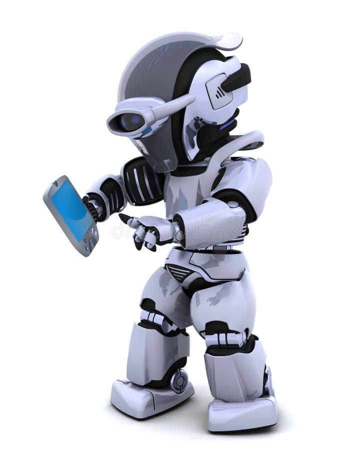 Robot met palm proef royalty-vrije illustratie