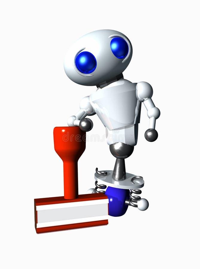 Robot met Rubberstamp royalty-vrije illustratie