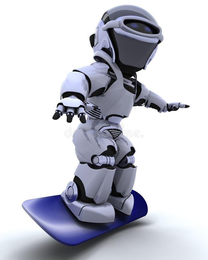 Robot met snowboard vector illustratie