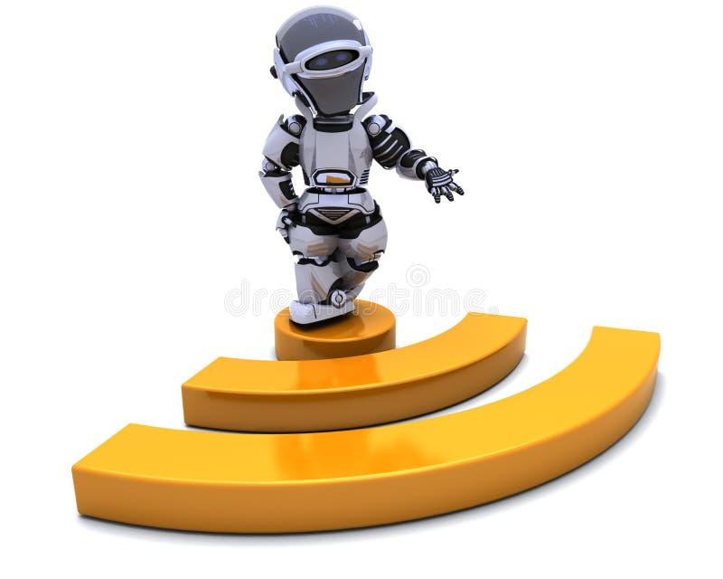 Robot met symbool RSS royalty-vrije illustratie