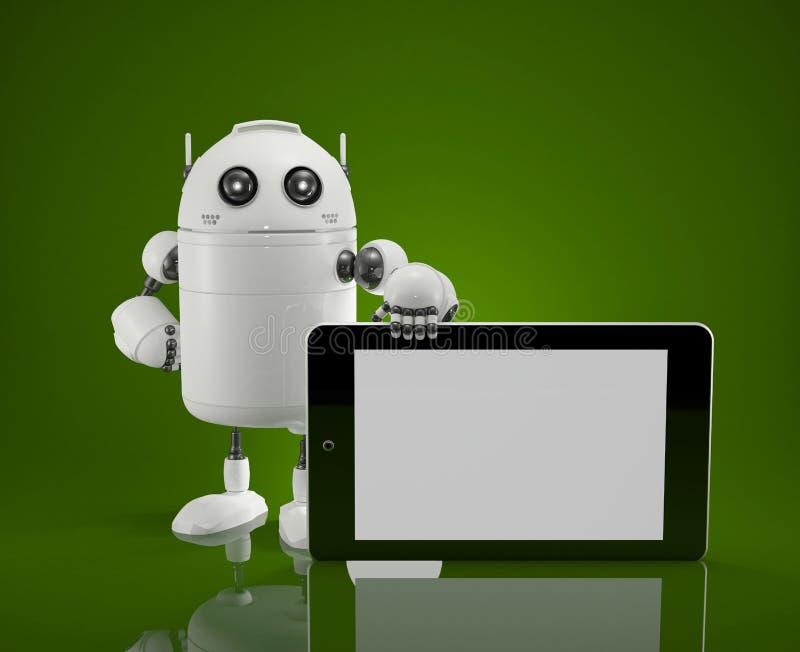 Robot met tabletcomputer stock illustratie