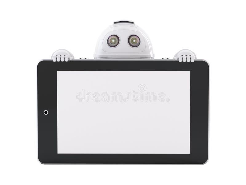 Robot met tabletpc stock illustratie