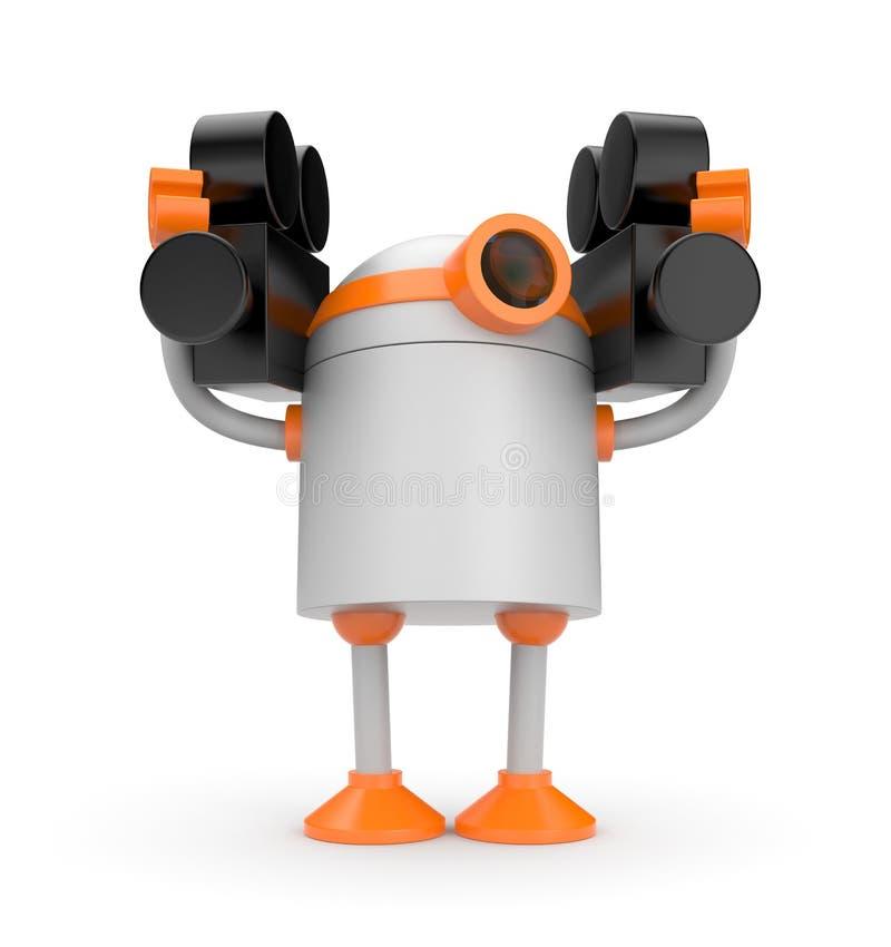 Robot met twee camera's royalty-vrije illustratie