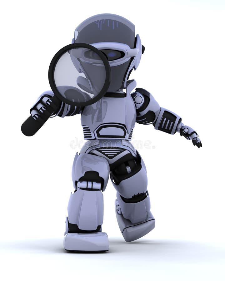 Robot met vergrootglas stock illustratie