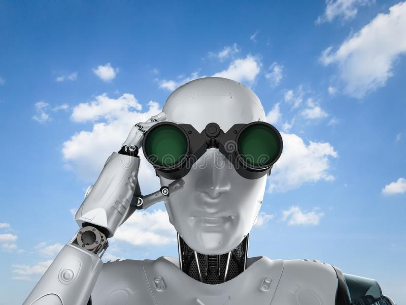 Robot met verrekijkers royalty-vrije illustratie