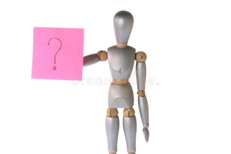 Robot met vraagteken stock foto