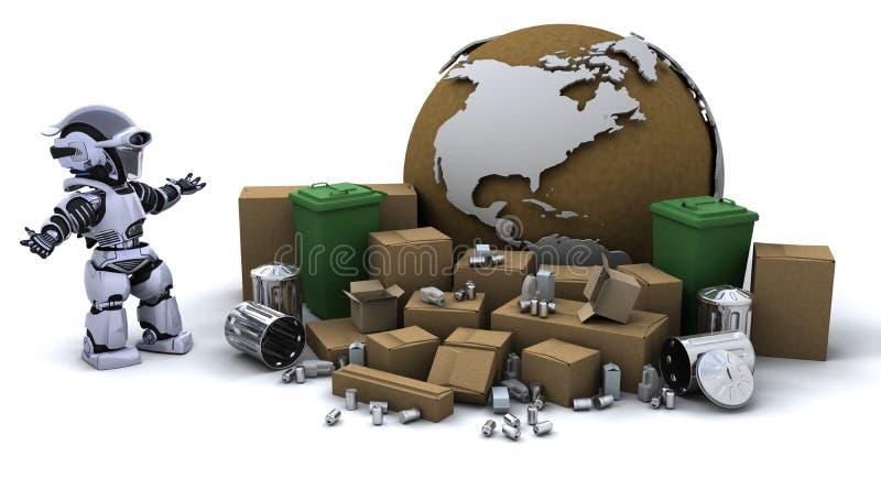 Robot met vuilnisbak stock illustratie
