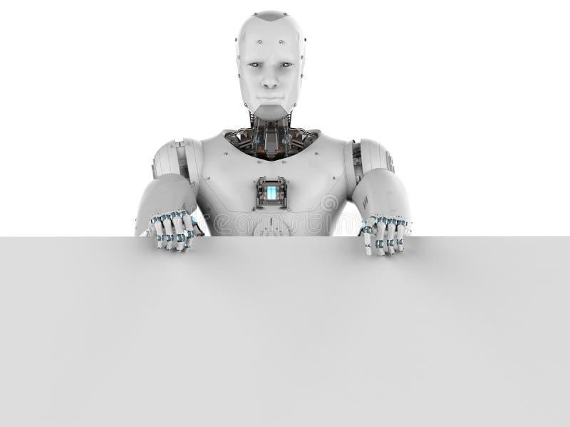 Robot met wit leeg document stock illustratie