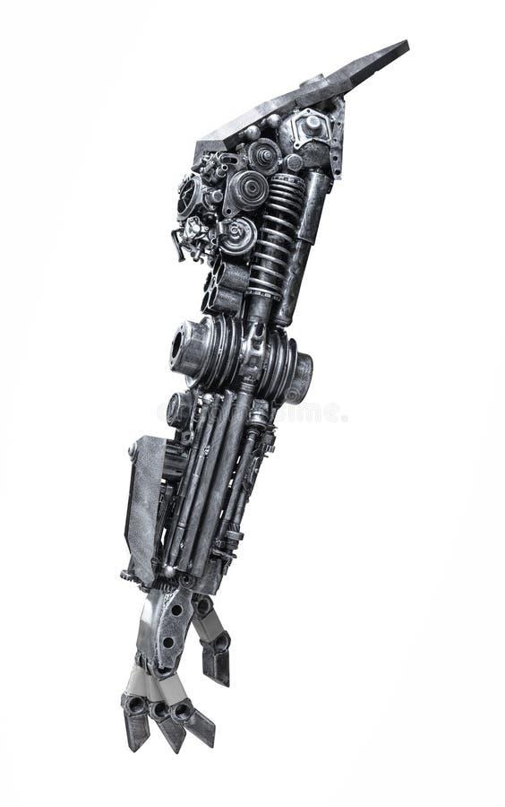 Robot metallico di retrovisione fatto a mano dal pezzo meccanico isolato fotografia stock