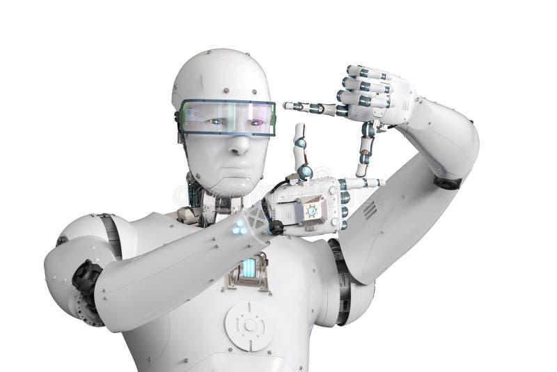 Robot miara z palcem ilustracji