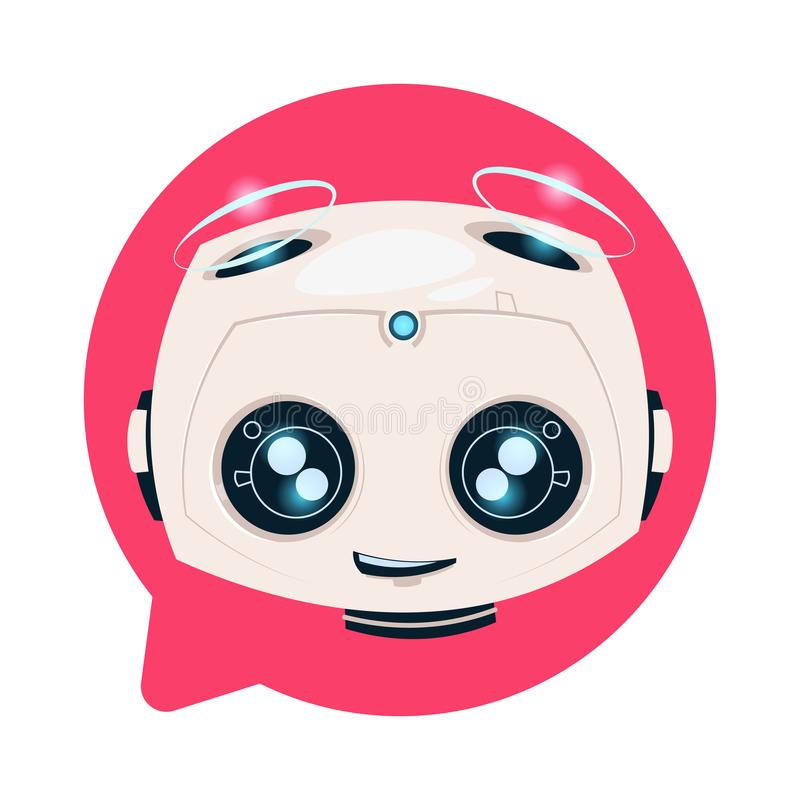Robot mignon de Chatbot dans le concept de technologie de Chatterbot d'isolement par icône de bulle de causerie illustration de vecteur