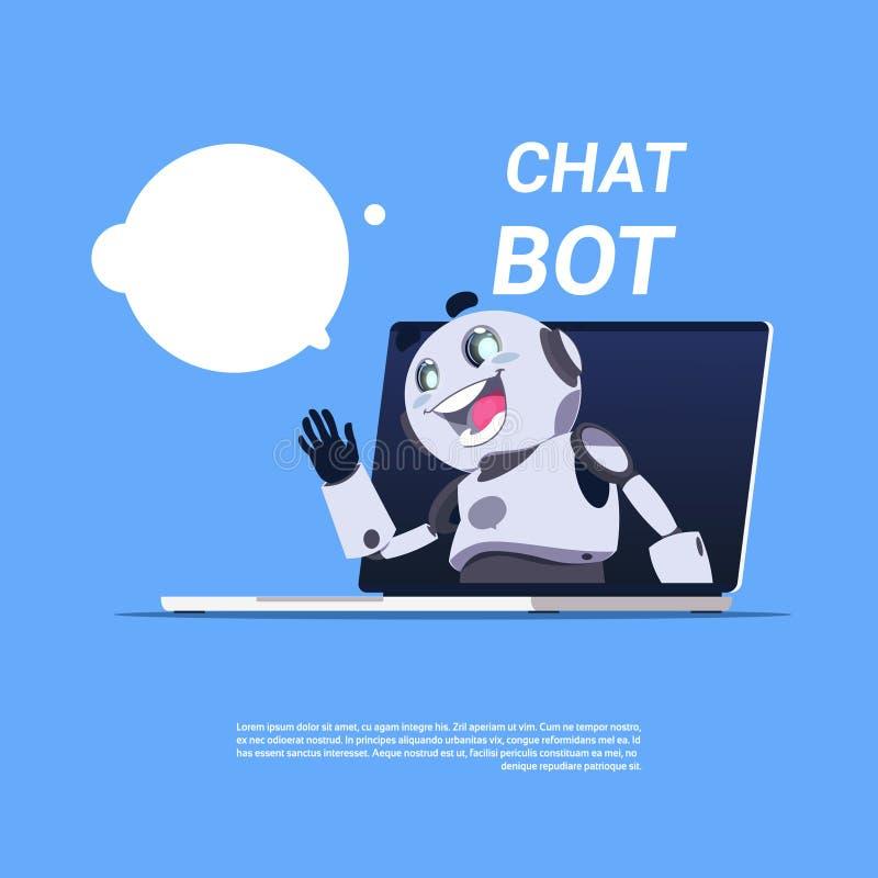 Robot mignon de service de Bot de causerie dans la bannière de calibre d'ordinateur portable avec l'espace de copie, le broutemen illustration de vecteur