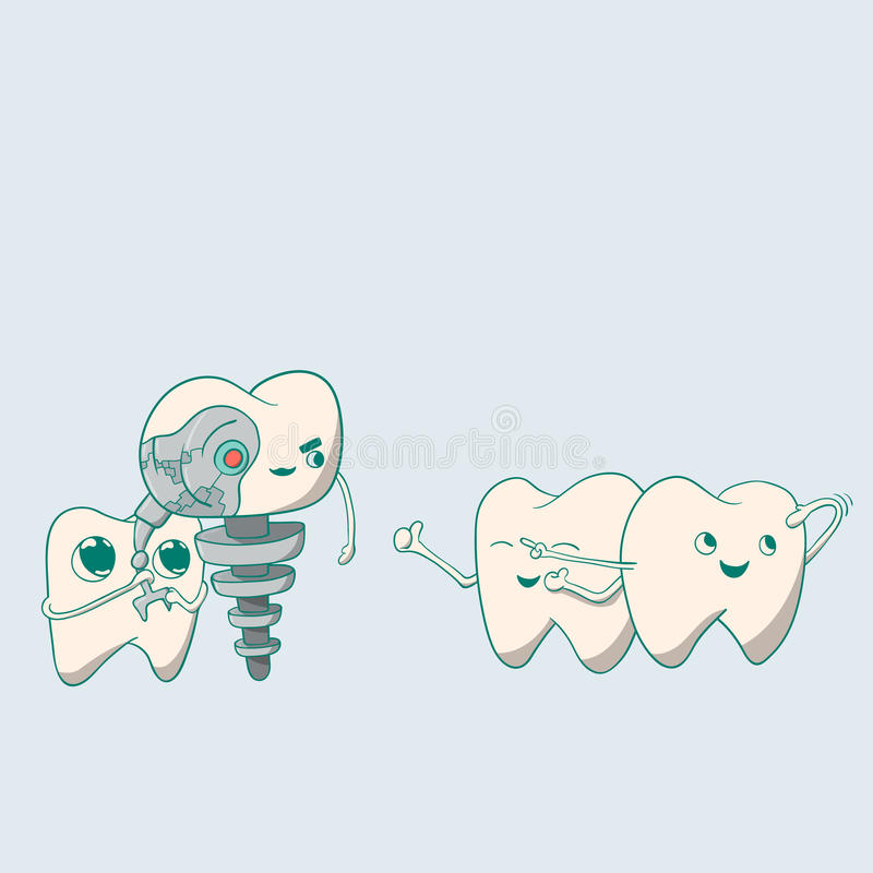 Robot mignon et dents d'implant dentaire image stock