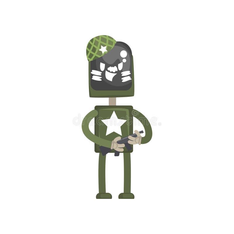 Robot militair karakter, androïde in groene eenvormige status met automatische machine in zijn vector van het handenbeeldverhaal stock illustratie