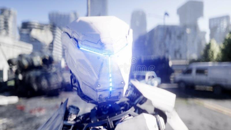 Robot militaire dans la ville détruite Futur concept d'apocalypse rendu 3d illustration libre de droits