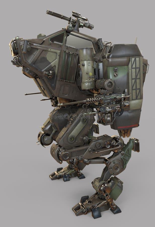 Robot militar ejemplo 3d aislado en fondo gris ilustración del vector