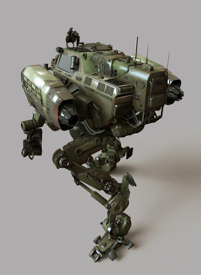 Robot militar ejemplo 3d aislado en fondo gris stock de ilustración